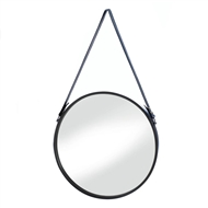 Hanging Wall Mirror With Faux Leather Strap