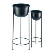 Modern Black Bucket Iron Plant Stand