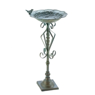 Speckled Green Cast Iron Bird Bath