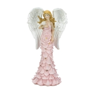 Pink Solar Powered Rose Angel Statue