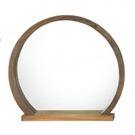 Round Wooden Wall Mirror With Shelf