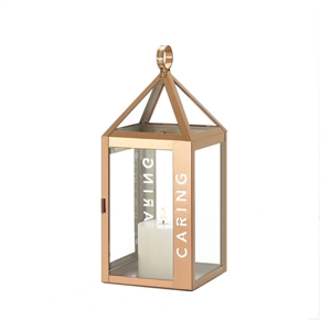 Caring Etched Rose Metal Candle Lantern
