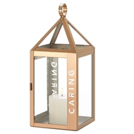 Large Caring Etched Rose Metal Candle Lantern