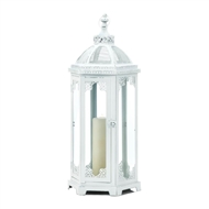 Large Grecian Distressed White Candle Lantern