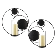 Circular Contempo Wall Candle Sconce Set of 2