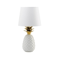 Gold Topped Pineapple White Table Lamp