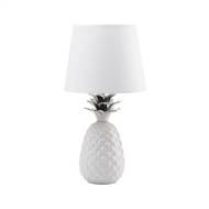 Silver Topped Pineapple White Table Lamp