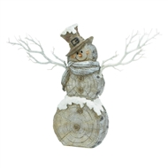 Snowman Statue With Lighted Branches