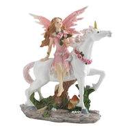 Pink Fairy On White Unicorn Figurine