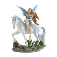 Blue Fairy On White Unicorn Figurine