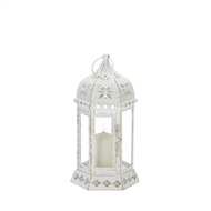 Distressed White Floral Candle Lantern