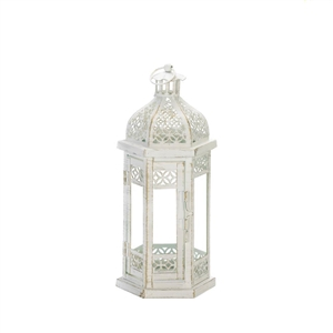 Antique-Style White Floral Hanging Candle Lantern