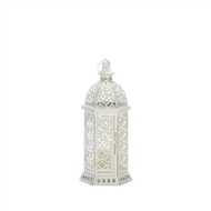 Cutwork White Hexagon Candle Lantern