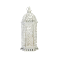 Large Cutwork White Hexagon Candle Lantern