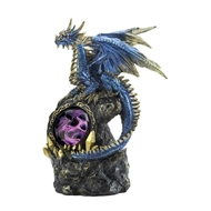 LED Blue Dragon On Rocks Figurine