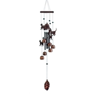 "Bronze Cats And Bells Wind Chime 26"" Long"