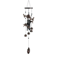 "Bronze Dogs And Bells Wind Chime 26"" Long"