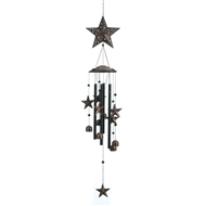 "Bronze Stars And Bells Wind Chime 26"" Long"
