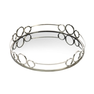 Silver Circles Mirrored Decorative Accent Tray