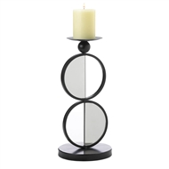 Mirrored Black Metal Duo Circle Candle Holder