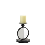 Single Mirrored Black Metal Circle Candle Holder