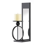 Rectangular Mirrored Black Metal Wall Candle Sconce