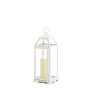 Medium Country White Open Top Candle Lantern