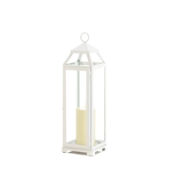 Large Country White Open Top Candle Lantern