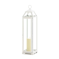 Tall Country White Open Top Candle Lantern