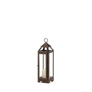 Small Copper Metal Pillar Candle Lantern