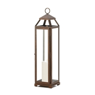 Extra Tall Copper Metal Pillar Candle Lantern