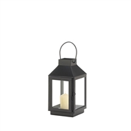Mini Square Top Metal Black Candle Lantern