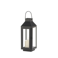 Small Square Top Metal Black Candle Lantern