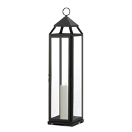 Extra Tall Black Metal Pillar Candle Lantern