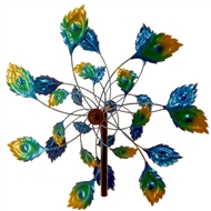 "Peacock Tail Metal Windmill Garden Stake 75"" Tall"