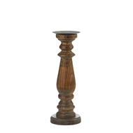 "15"" Rustic Wood Pillar Candle Holder"