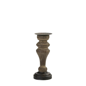 "11.75"" Rustic Wood Pillar Candle Holder"