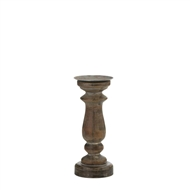 "11"" Rustic Wood Pillar Candle Holder"