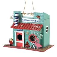 Flamingo Paradise By The Sea Birdhouse