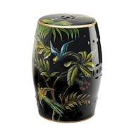 Tropical Birds Decorative Ceramic Stool Table