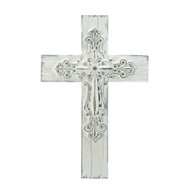 3-D Scrollwork Whitewashed Cross