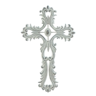 Scalloped Open-Scrollwork White Cross