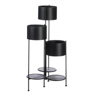 3-Tier 6-Position Barrel Bucket Black Plant Stand