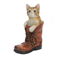 Tabby Cat In Boot Garden Figurine