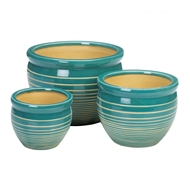 Blue And White Stripe Ceramic 3PC Planter Pot Set