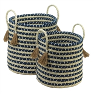 Seagrass Braided Baskets With Tassels 2PC