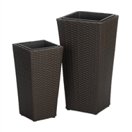 Brown Tuscany Wicker Tall Planters Set of 2