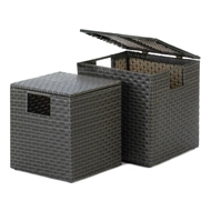 Monterey Wicker Nesting Storage Trunks Set of 2
