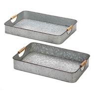Rectangular Galvanized Handled Serving Trays Set of 2