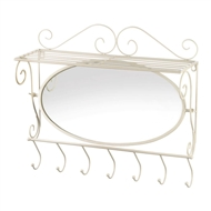 7-Hook Mirrored Ivory Wall Shelf